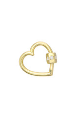 14k Gold Diamond Heart Carabiner
