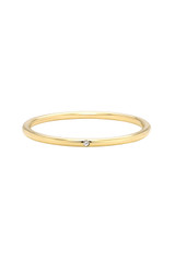 14k Gold Thin band with Tiny Diamond
