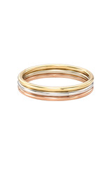 14k Gold Multi Tone Trio Band