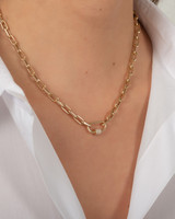 14k Gold Large Open Link Chain with Diamond Carabiner Necklace