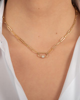 14k Gold Large Paper Clip Chain with Diamond Carabiner Necklace