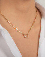 14k Gold Large Paper Clip Chain with Heart Carabiner Necklace