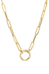 14k Gold Large Paper Clip Chain with Snake Enhancer Necklace