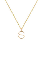 14k Gold Small Nail Initial Necklace