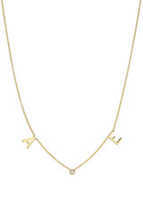 14k Gold Initial and Bezel Diamond Space Necklace