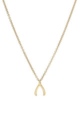14k Gold Mini Wishbone Necklace