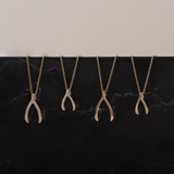 Mini Diamond Wishbone Necklace