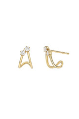Diamond Duo Half Huggie Earrings