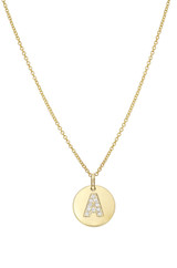 14k Gold Small Diamond Initial Disc Pendant Necklace