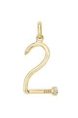 14k Gold Large Number Nail Pendant