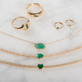 4 Prong Diamond Tennis Necklace with Heart Cut Emerald