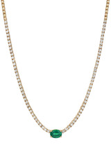 4 Prong Diamond Tennis Necklace with Oval Cut Emerald