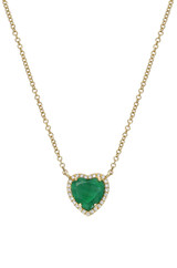 Diamond Emerald Heart Necklace