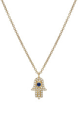 Diamond & Sapphire Hamsa Necklace- Out of Stock