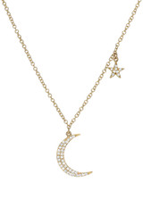 Pave Diamond Moon and Star Necklace