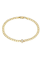 Cuban Link Bracelet with Diamond Pear Bezel
