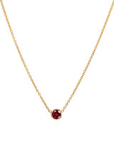 14k Gold Bezel Birthstone Necklace