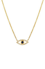 Diamond & Sapphire Evil Eye Necklace - Out of Stock