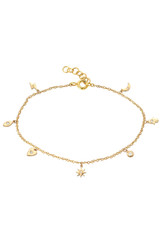 14k Gold and Diamond  Charm Bracelet