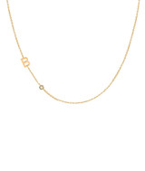 14k Gold Asymmetrical Initial and Bezel Diamond Necklace