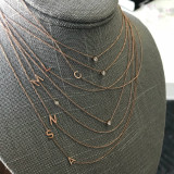 14k Gold Asymmetrical Multiple Initials Necklace