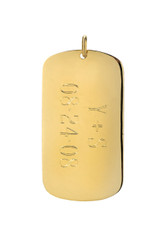 14k Gold Engraved Dog Tag Pendant