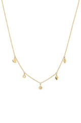 14k Gold and Diamond Charms Necklace