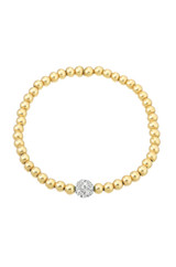 5mm Gold Bead Bracelet with Diamond Bead
