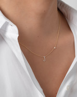 Diamond Initial and Bezel Necklace