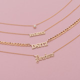 14k Gold Gothic Name Necklace