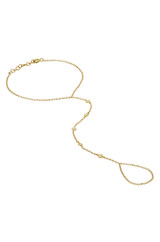 14k Gold Multiple Bezel Diamond Hand Chain