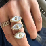 Diamond Mother of Pearl Evil Eye Ring