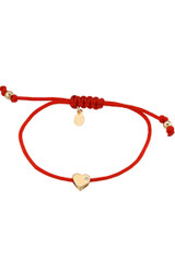 14k Gold Heart with Diamond Fortune Bracelet