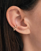 14k Gold Ear Cuff with Diamond Fringes