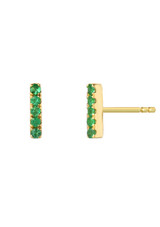 Emerald Bar Stud Earrings