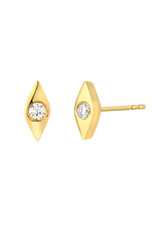 14k Gold Diamond Evil Eye Stud Earrings