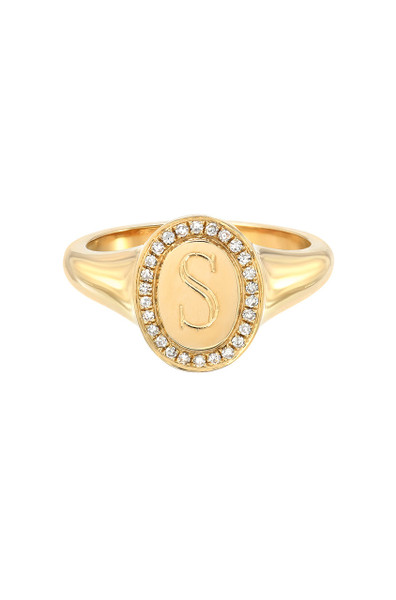 14k Gold Diamond Signet Initial Ring
