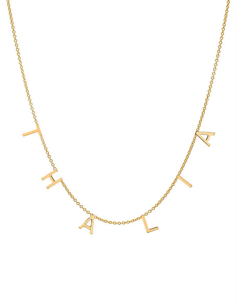 14k gold mini multiple initial necklace