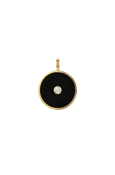 14k gold diamond enamel disc pendant