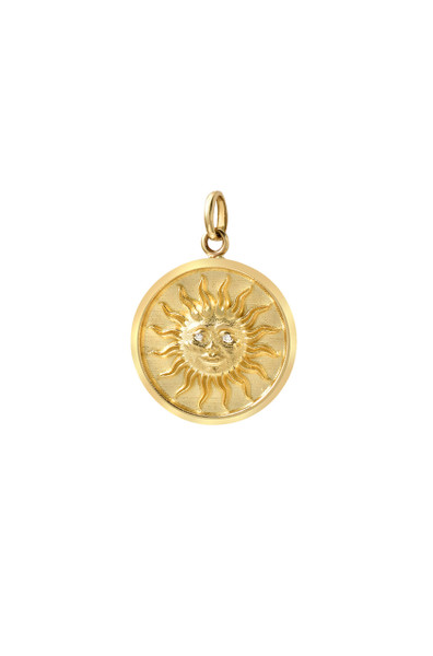 14k gold diamond eyes sun medallion pendant