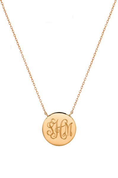 14k gold engraved disc necklace