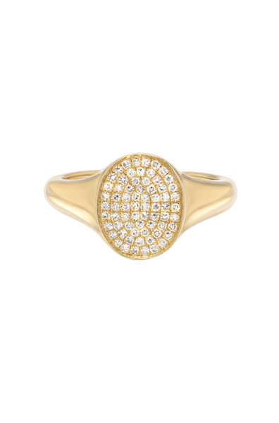 14k Gold Diamond Signet Ring - Out of Stock