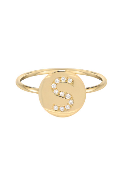 diamond initial round ring
