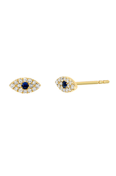 diamond evil eye stud earrings