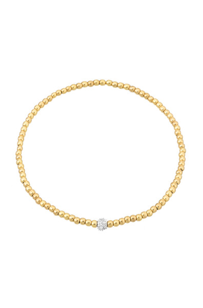 3mm Gold Bead Bracelet with Diamond Bead