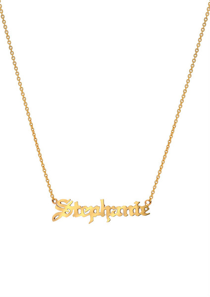gold gothic name necklace