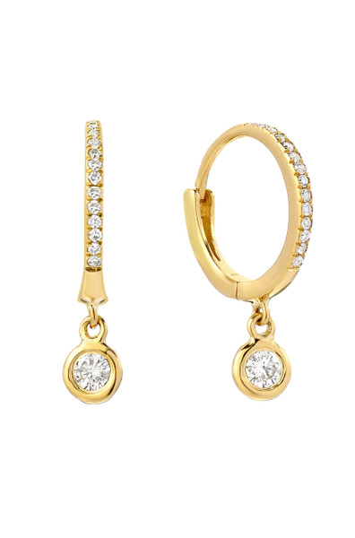14k Gold Diamond Huggies with Drop Bezel Diamond