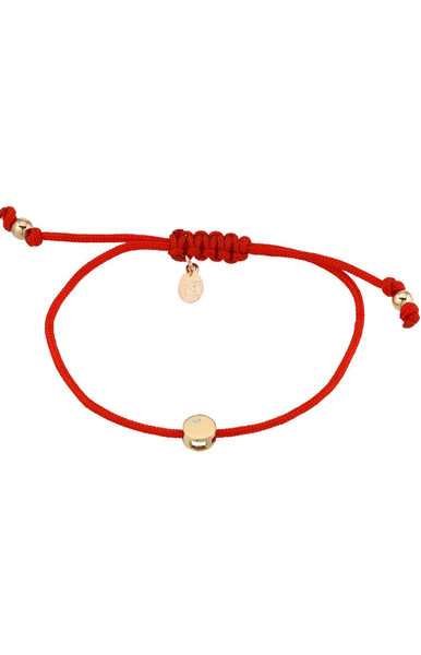 14k gold disc with diamond fortune bracelet