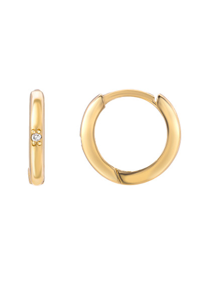 14k gold small hoop earrings with tiny diamond