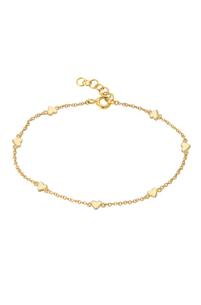 14k  gold heart charms bracelet